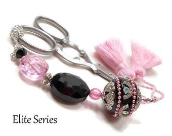 Black Pink Scissor Fob Beaded Scissor Keeper Victorian Scissor Minder Elite Series Needlepoint Quilting Sewing Cross Stitch