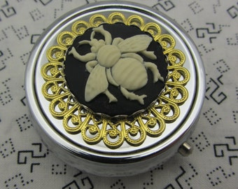 Pill Case Box Container Trinket Box Bumble Bee Comes with Pouch