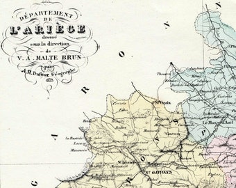 Antique Map of Ariège, France - With Inset of Foix - Handcolored - 1800s French Vintage Map