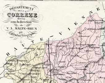 Antique Map of Correze, France - With Inset of Tulle - Handcolored - 1800s French Vintage Map