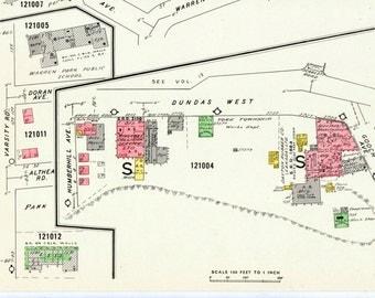 1964 Vintage Map of Etobicoke - Toronto - Insurance Maps - Dundas West - Warrent Crescent - Sheet 1202