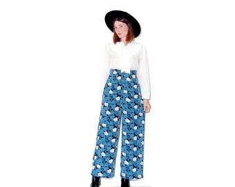 HURRY HALF OFF cutest High Waisted Pants / floral pants palazzo pants boho pants wide leg pants summer festival clothing 90s clothing