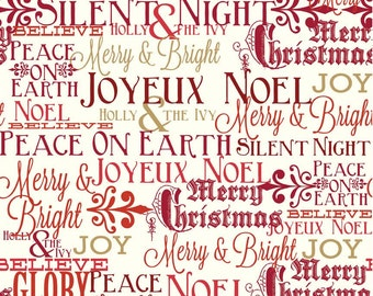 COUPON CODE SALE - Postcards for Santa, Greetings, Red, Riley Blake Designs, 100% Cotton Quilt Fabric, Christmas Quilting Fabric