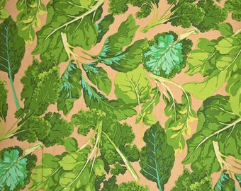 COUPON CODE SALE - End of Bolt - Martha Negley, Veggie Leaves, Green, Rowan Westminster Fabrics, 100% Cotton Quilt Fabric, Quilting Fabric