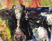 Cow painting, abstract cow art, modern expressionist art, cow picture, black white green red bold colorful painting, Russ Potak