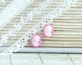 Cameo Stud Earrings Rose Pink Earrings Victorian Earrings Small Stud Earrings Cameo Studs Hypoallergenic
