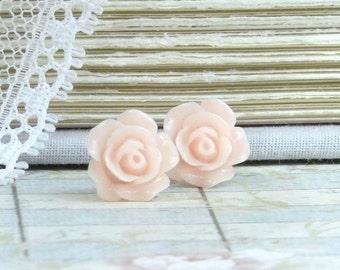 Pink Flower Earrings Rose Stud Earrings Blush Pink Earrings Pink Rose Studs Hypoallergenic Pink Rose Earrings