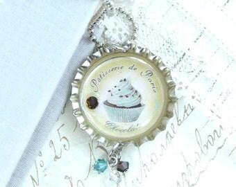 Chocolate Cupcake Necklace Dessert necklace French Necklace Bottle Cap Necklace Cupcake Jewelry
