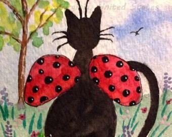 Original Art Ladybug Cat Painting ACEO