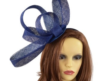 Navy Blue Kate Fascinator  Hat for Weddings, Occasions and Parties With Headband