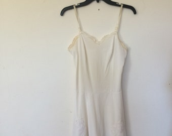 60s Cream Lace Slip Dress Small Vintage