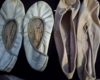 Two Vintage Very Shabby Ballet Flats