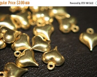 FALL CLEARANCE CLOSEOUT Sale- Raw Brass Heart Charms 11x9mm - 30 pcs
