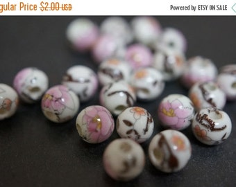 FALL CLEARANCE Japanese White Round Porcelain Beads with Classic Pink Peony Flowers Beads - 6mm - 6 pcs