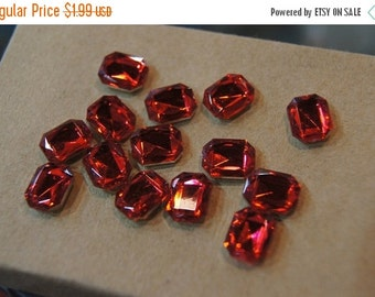 ON SALE CLOSEOUT - Faceted Ruby Red  Rectangular Flat Cabochons - 8mm x 10mm - 30 pcs