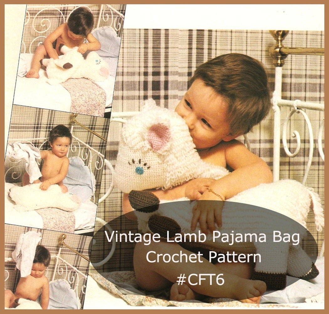 Free Crochet Patterns For Pajama Bags : Pajama Bag Lamb Pajama Bag For Children Crochet Pattern Lamb