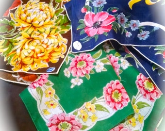 Vintage Hankies Lot of 3 Embroidered Handkerchiefs Retro Linens Floral Some With Stickers Irish Linen