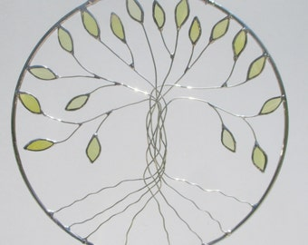 Tree of Life Stained Glass and Wire Circle Suncatcher or Home Decor