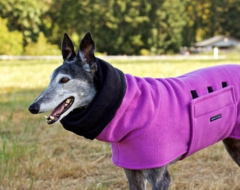 Pleated-Back Greyhound Coat in Orchid Anti Pill Fleece with Black-lined Snood, Size Medium/Greyhound Fleece Coat/ Snood Coat/Winter Coat