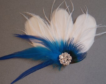 Fascinator Feather Bridal Hair Clip Wedding Hair Accessories bridesmaid combs IVORY TURQUOISE BLUE