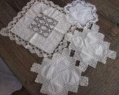 Four vintage handmade lace doilies