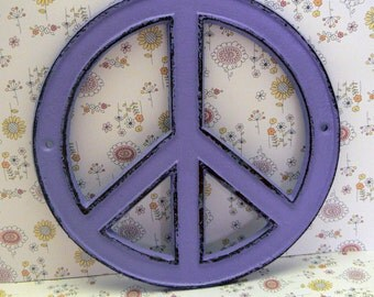 Peace Sign Cast Iron Lavender Wall Art Shabby Chic Retro 70's Home Decor
