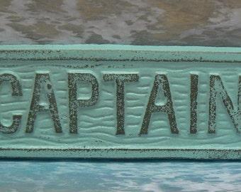 Captain Cast Iron Sign Blue Shabby Chic Cottag Chic Beach Nautical Home Decor