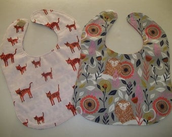 Baby Bib Set of 2 Animal Modern Woodland Baby Girl Bib