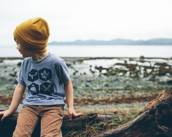 Nature Inspired Kids Tshirt - Camping Gift for Kids - Nature Kids - Minimalist Kids Clothing - Woodland - Moose - Touque - Maple Leaf