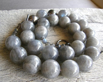 Big Chunky Stone Necklace, Bold Labradorite and Sterling Silver Statement Necklace, Grey Gemstone Necklace