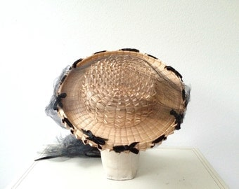 1940s hat / vintage straw hat / Louisa May hat