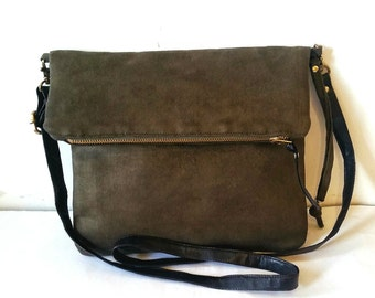 Vegan Crossbody Bag in Olive Green Faux Suede, Vegan Bag, Crossbody Foldover Bag