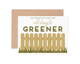 Grass is Greener Letterpress Greeting Card - Love Card | Valentine's Card | Anniversary Card | Greeting Cards | Letterpress Cards