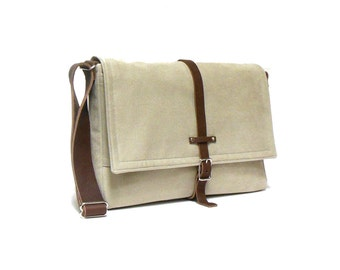 Ultimate Stash laptop messenger bag - light beige