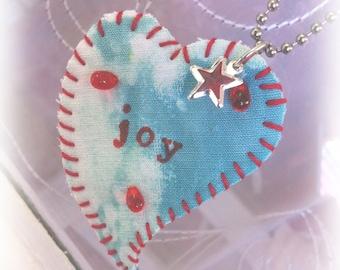 """HTWJ """"Heart To Wear"""" JOY Fiber Art Necklace...Great Gift!"""
