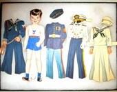 Antique 51 Pc. Paper Dolls Set /Original WW2 Antique Military/ Circa 1939-1945 / Air Land and Sea / Collectible / Paper Ephemera