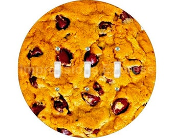 Chocolate Chip Cookie Triple Toggle Switch Plate Cover