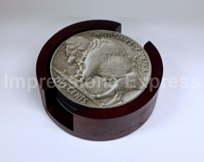 Buffalo Head Nickel Coin Coaster Set of 5 with Wood Holder