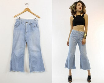 """70s Cropped Denim 28"""" / 1970s Vintage High Waist Fitted Flares / Blue Jean Baby"""