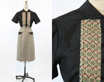 40s Dress Cotton Small / 1940s Vintage Black Shirtwaist Dress / The Marianne Dress