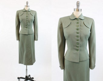 40s Suit Handmacher XS / 1940s Vintage Jacket and Skirt / Spanish Moss Suit