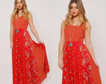 Vintage 70s PATCHWORK Maxi Dress Red PAISLEY Dress Printed Hippie Dress Sleeveless FESTIVAL Dress