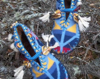 Eaglets in Tail Feathers -  Felted Blanket Wool Moccasins / Lined / Sheepskin & Wool Insoles / Leather Soles - Women's Sizes