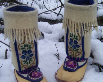 Warmth of the Old Country-  Deerskin / Felted Blanket Wool Slipper Boots/ Wool Lined/ Sheepskin & Leather Soles-Women's and Men's Sizes