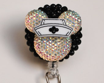Nurse Minnie Mouse Iridescent Silhouette ID Badge Reel - Retractable ID Badge Holder - Zipperedheart