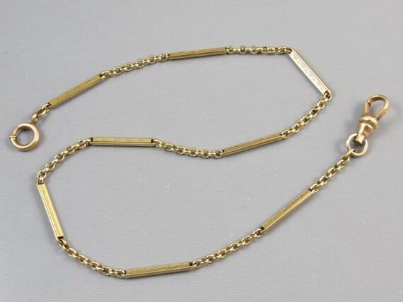 Vintage Art Deco gold filled bar link mens pocket watch chain j479