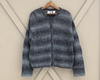 90s vintage Variegated Charcoal and Smoke Grey Striped Mohair Blend Oversized Cardigan Sweater / Paul Harris Design