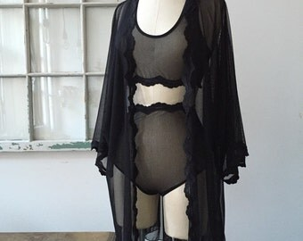 Coffee in Bed Black Lace Robe