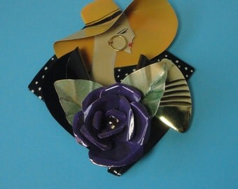 1980s Artist Made Large Lady in Hat Recycled Tin Brooch.