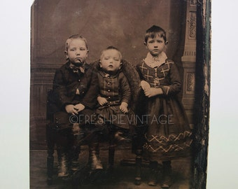 Boy Dressed as Girl Unique Tintype Photograph of Three Children 19th Century Fashions Free US Shipping